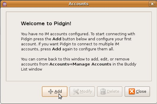 Pidgin add account